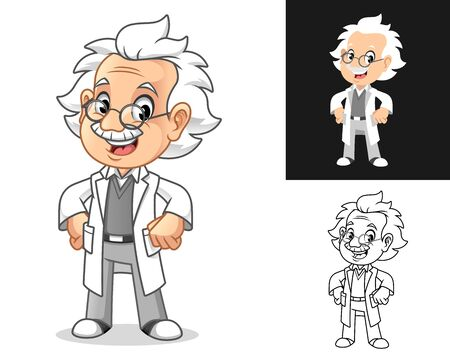 Happy Old Man Professor with Hands on Hips Cartoon Character Design, Including Flat and Line Art Designs, Vector Illustration, in Isolated White Background. Ilustração