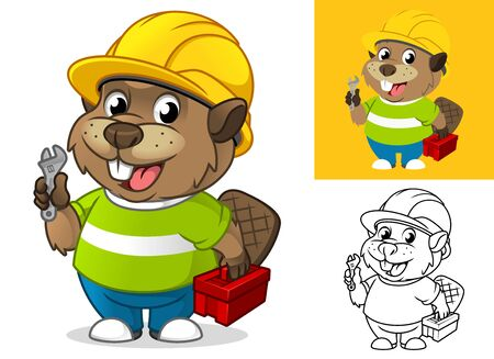 Beaver with Safety Gear Holding Repair Equipment Cartoon Character Mascot Illustration, Including Flat and Line Art Designs, Vector Illustration, in Isolated White Background. 向量圖像