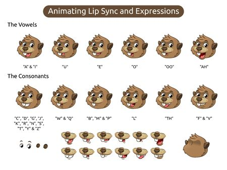 Beaver Cartoon Character Mascot Illustration for Animating Lip Sync and Expressions, Vector Illustration, in Isolated White Background. Иллюстрация