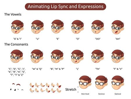 Geek Boy Cartoon Character Mascot Illustration for Animating Lip Sync and Expressions, Vector Illustration, in Isolated White Background.