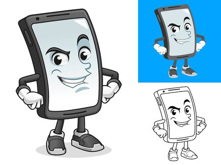 Smartphone with Hands on Hips Cartoon Character Mascot Illustration, Including Flat and Black and White Designs, Vector Illustration, in Isolated White Background. Stock Illustratie