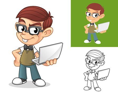 Happy Geek Boy Standing and Holding a Laptop Computer Cartoon Character Mascot Illustration, Including Flat and Black and White Designs, Vector Illustration, in Isolated White Background. Illustration