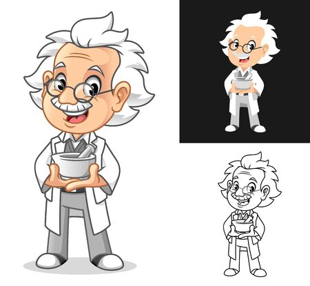 Happy Old Man Professor Holding Medical Mortar and Pestle Cartoon Character Design, Including Flat and Line Art Designs, Vector Illustration, in Isolated White Background.