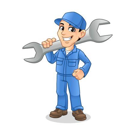 Uomo del meccanico che tiene una chiave enorme per il disegno del personaggio dei cartoni animati di concetto di mascotte di servizio, riparazione o manutenzione, illustrazione vettoriale, in fondo bianco isolato.