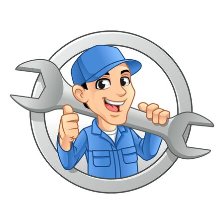 Mechanic Man Logo Holding Huge Wrench for Service, Repair or Maintenance Mascot Concept Cartoon Character Design, Vector Illustration, in Isolated White Background.