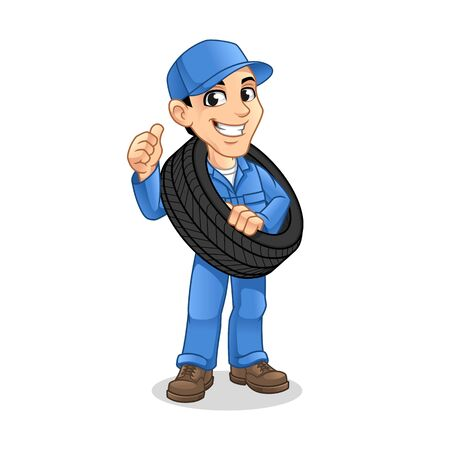 Mechanic Man Carrying The Tire with a Thumbs Up Hand in The Other Hand for Service, Repair or Maintenance Mascot Concept Cartoon Character Design, Vector Illustration, in Isolated White Background.