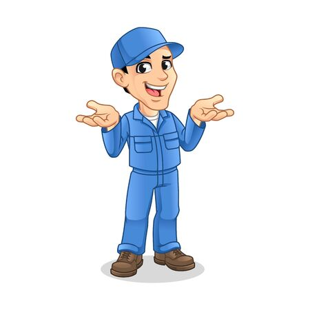 Mechanic Man with Confused Gesture Sign for Service, Repair or Maintenance Mascot Concept Cartoon Character Design, Vector Illustration, in Isolated White Background.