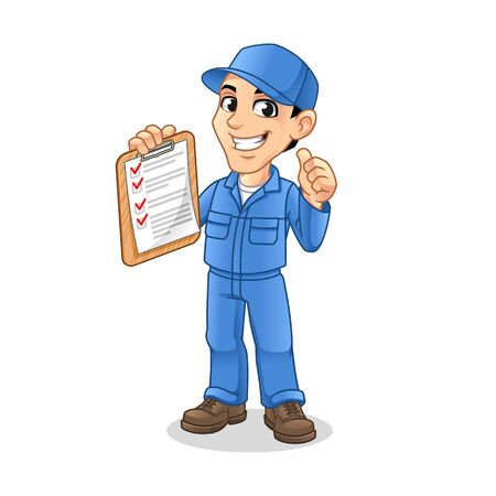 Mechanic Man Holding Clipboard with Thumbs Up Hand in The Other Hand for Service, Repair or Maintenance Mascot Concept Cartoon Character Design, Vector Illustration, in Isolated White Background.