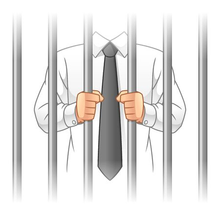 Businessman Behind The Prison Bars, Business Corruption Concept, Cartoon Vector Illustration Design, in Isolated White Background.