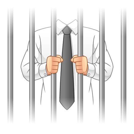 Uomo d'affari dietro le sbarre della prigione, concetto di corruzione aziendale, progettazione dell'illustrazione di vettore del fumetto, in fondo bianco isolato. Vettoriali