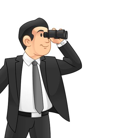 Homme d'affaires avec des jumelles, concept de vision d'entreprise, conception d'illustration vectorielle de dessin animé, sur fond blanc isolé.