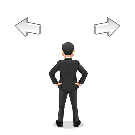 Businessman Looking to Select The Right Way, Business Challenge Concept, Cartoon Vector Illustration Design, in Isolated White Background. Vettoriali