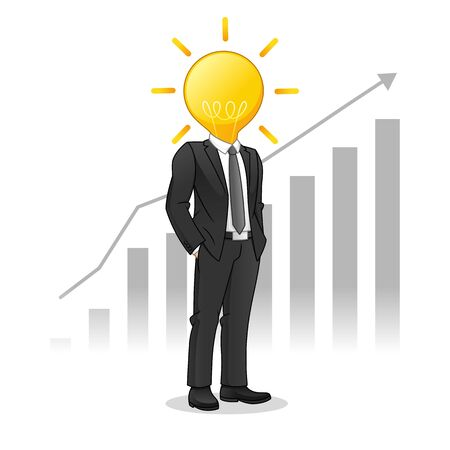 Businessman with Light Bulb Head Managed to Raise The Chart, Business Innovation Concept, Cartoon Vector Illustration Design, in Isolated White Background.