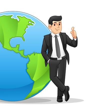 Businessman Leaning On The Globe, Business Globalization Concept, Cartoon Vector Illustration Design, in Isolated White Background. Illustration