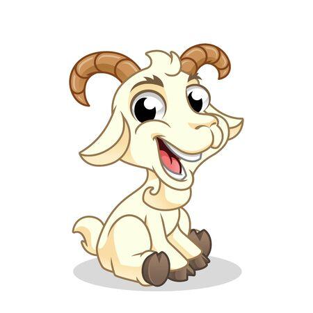 Chèvre assis, animal mammifère, mascotte d'illustration vectorielle de dessin animé, sur fond blanc isolé.