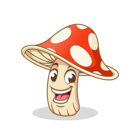 Happy Amanita Mushroom, Poisonous Mushroom, Cartoon Vector Illustration Mascot, in Isolated White Background. 向量圖像