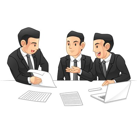 Business People Discussing Together with Computers and Some Printed Paper, Business Meetings and Partnership, Business Situation, Cartoon Vector Illustration Design, in Isolated White Background.