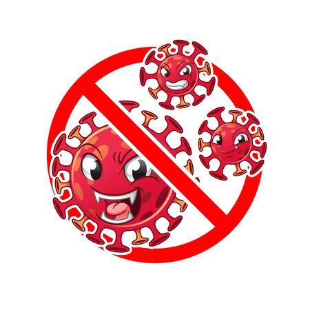NCP, Novel Coronavirus Pneumonia (COVID-19) 2019-nCoV Disease, Virus Warning Prohibited,  Sign and Symbol, Icon, Cartoon Vector Illustration, in Isolated White Background.