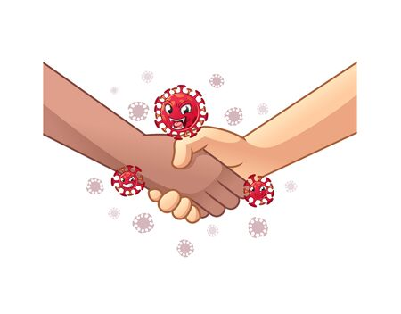 Transmission of The Virus Through Shake Hands Concept, Health and Medicine, Hygiene, Cartoon Vector Illustration, in Isolated White Background.