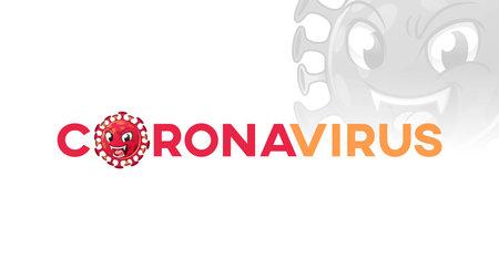 Coronavirus Title Text Banner with Virus Mascot, Cartoon Vector Illustration  , in Isolated White Background.