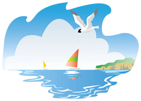 sea gull flying on the sea landscape  vector illustration