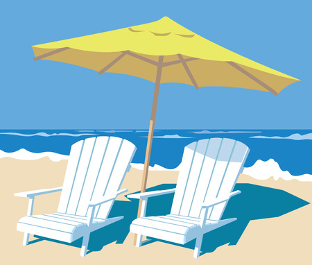lounge chairs and parasol on the beach  vector illustration