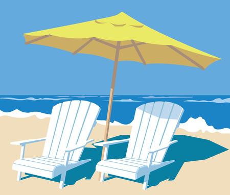 salón sillas y sombrilla en la playa. ilustración vectorial