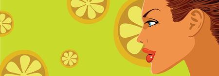 close-up face beautiful woman on orange slice background