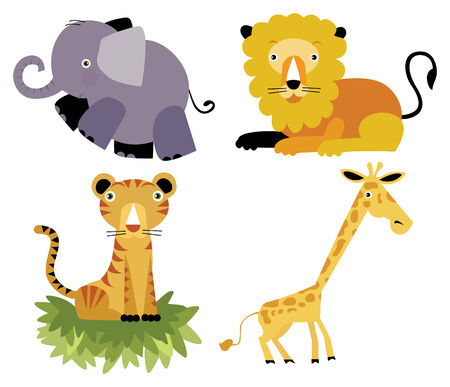 Safari cartoon animal set