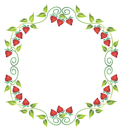 floral frame with strawberry Illustration
