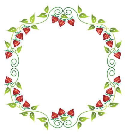 floral border frame: floral frame with strawberry Illustration