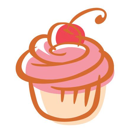 cherry cupcake Illustration