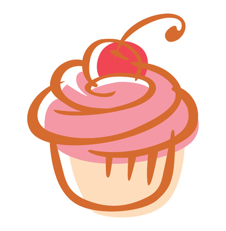 cherry cupcake Illustration