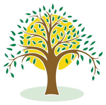green vector tree on sun background Stock Vector - 3669032
