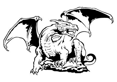 tatuaje dragon: vector de drag�n Vectores