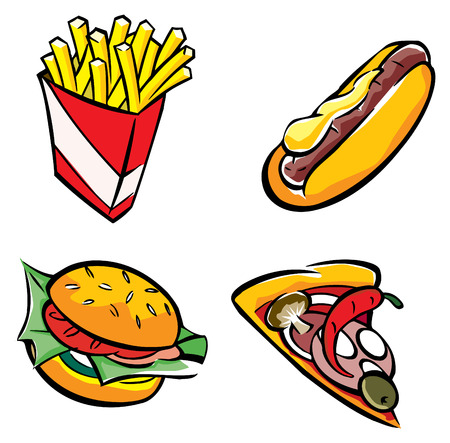 tomato catsup: fast food set vector Illustration