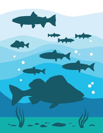 Underwater life, sea  vector illustration