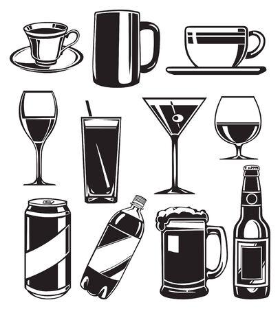 set of glasses for drinks Vector