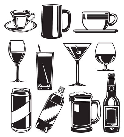 set of glasses for drinks Illustration