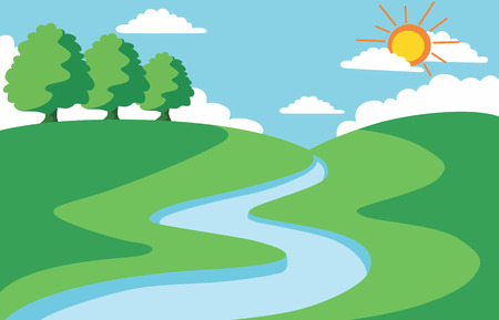 river vector: summer landscape Illustration