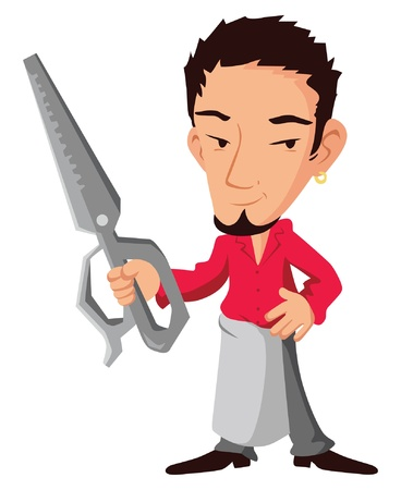 hair stylist with scissors in hand Vector