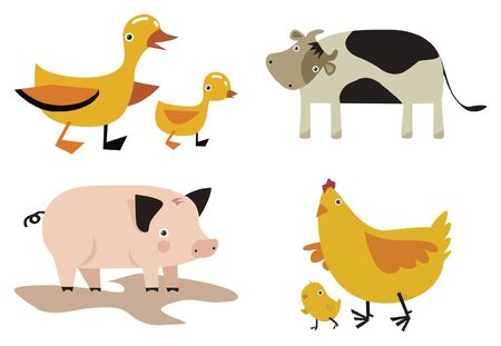domestic animals vector set