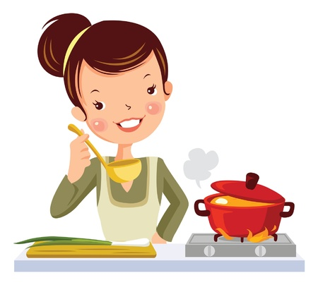 glamour girl in kitchen Vector