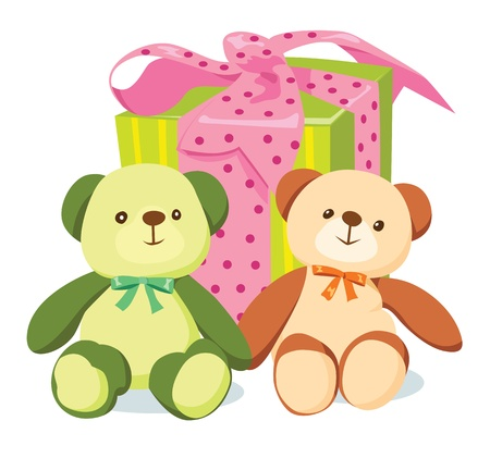 Two bears and striped gift box