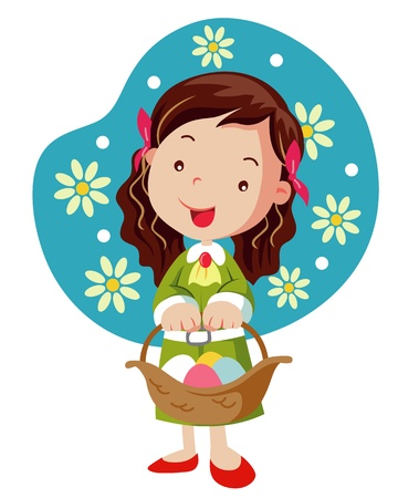 Girl hold basket with easter eggs Vector