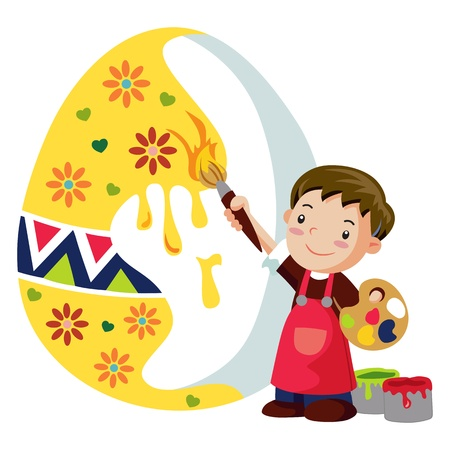 A boy adorns an easter egg