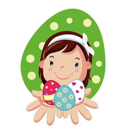 Girl hold in hands easter eggs Stock Vector - 18542993