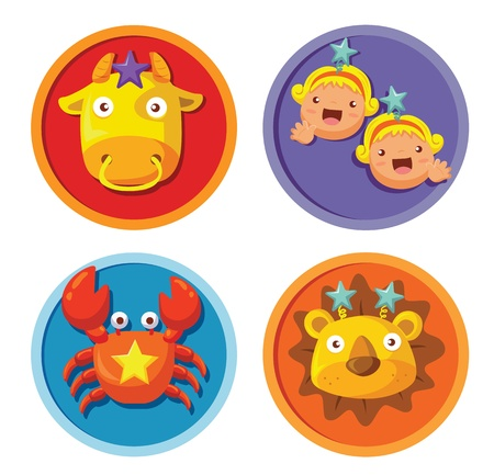 Vector set of cartoon zodiac star sign Vector