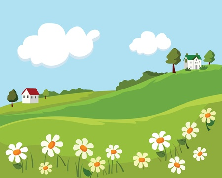 village summer landscape. vector illustration Illustration