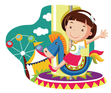 fair play: little girl on carousel horse. vector cartoon illustration Illustration